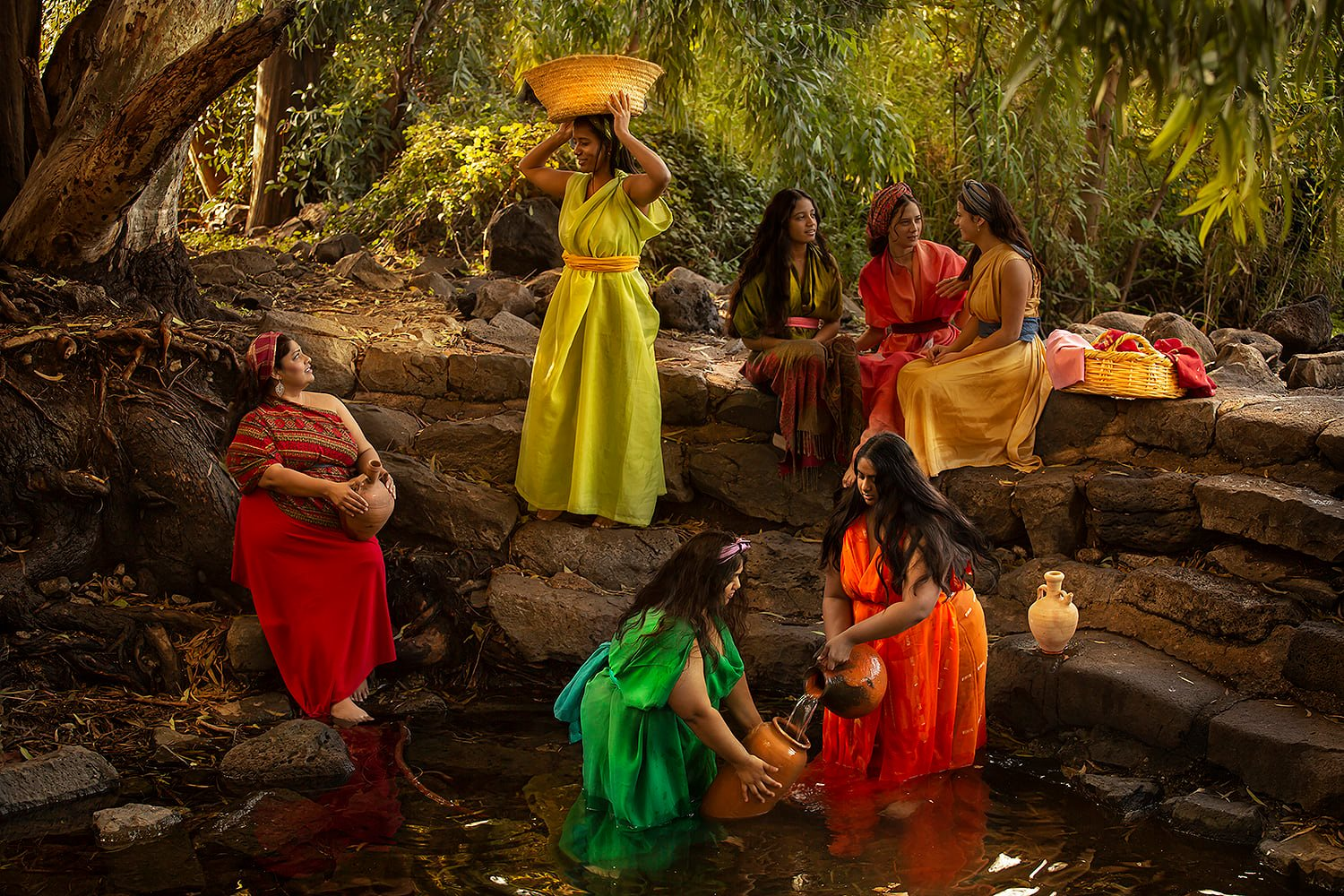 """The priest of Midian's seven daughters """" Now the priest of Midian had seven daughters; and they came and drew water, and filled the troughs to water their father's flock. Exodus 2, 16"""